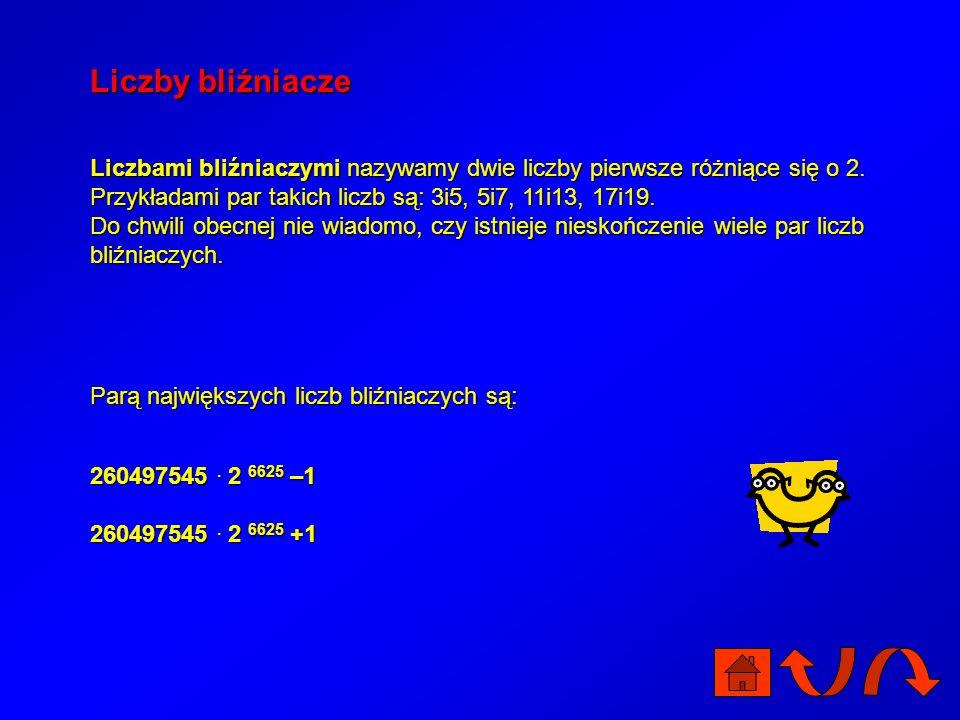 Liczby bliźniacze Liczbami bliźniaczymi nazywamy dwie liczby pierwsze różniące się o 2. Przykładami par takich liczb są: 3i5, 5i7, 11i13, 17i19.