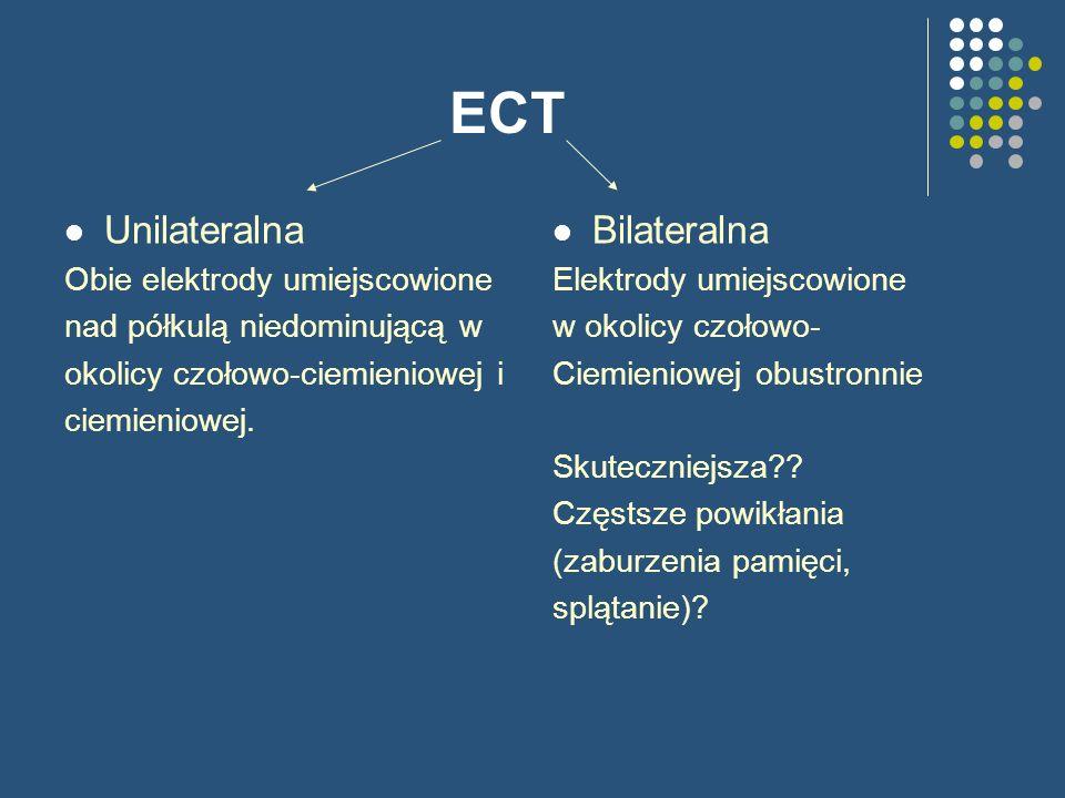 ECT Unilateralna Bilateralna Obie elektrody umiejscowione