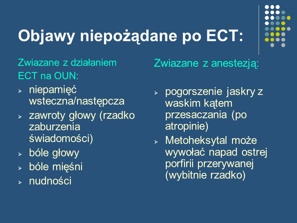 Objawy niepożądane po ECT: