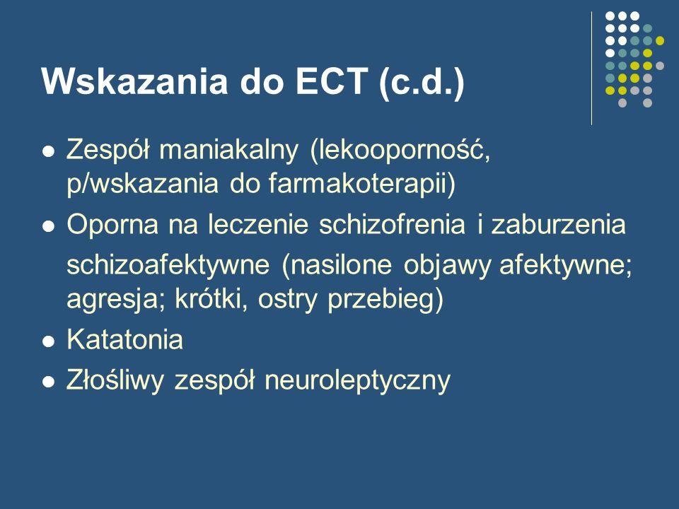 Wskazania do ECT (c.d.) Zespół maniakalny (lekooporność, p/wskazania do farmakoterapii) Oporna na leczenie schizofrenia i zaburzenia.