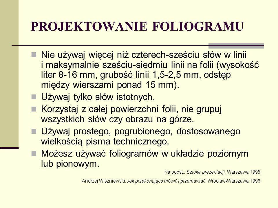 PROJEKTOWANIE FOLIOGRAMU