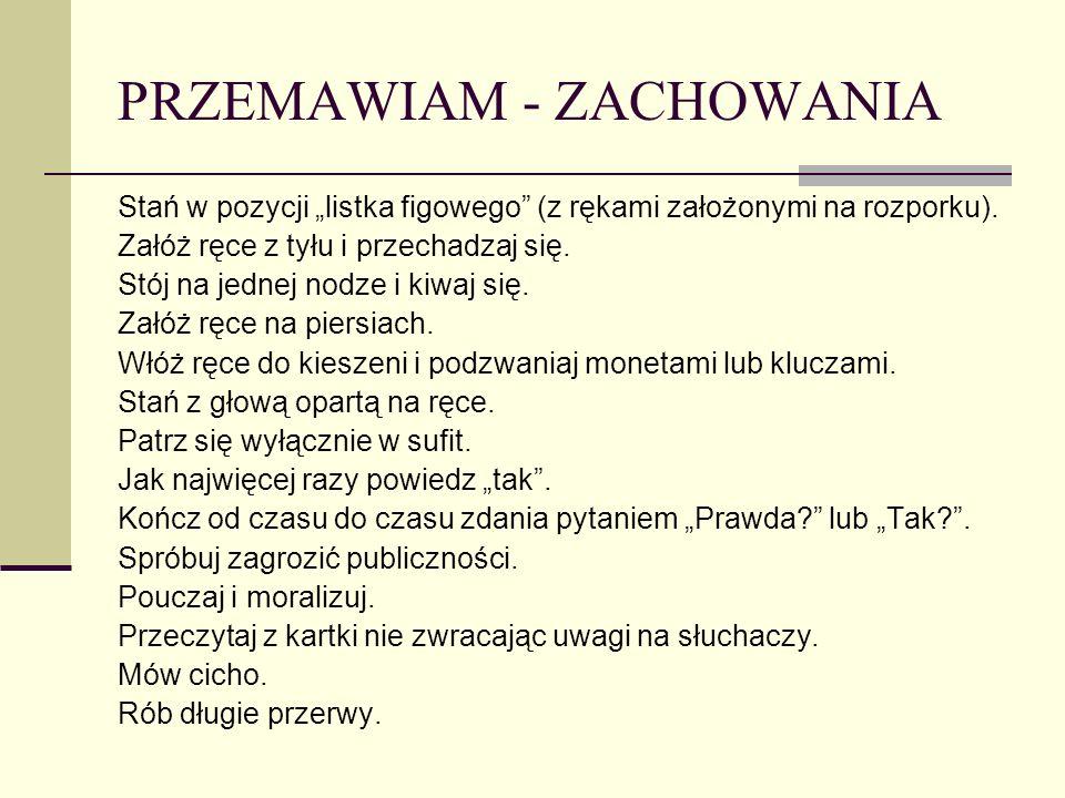 PRZEMAWIAM - ZACHOWANIA