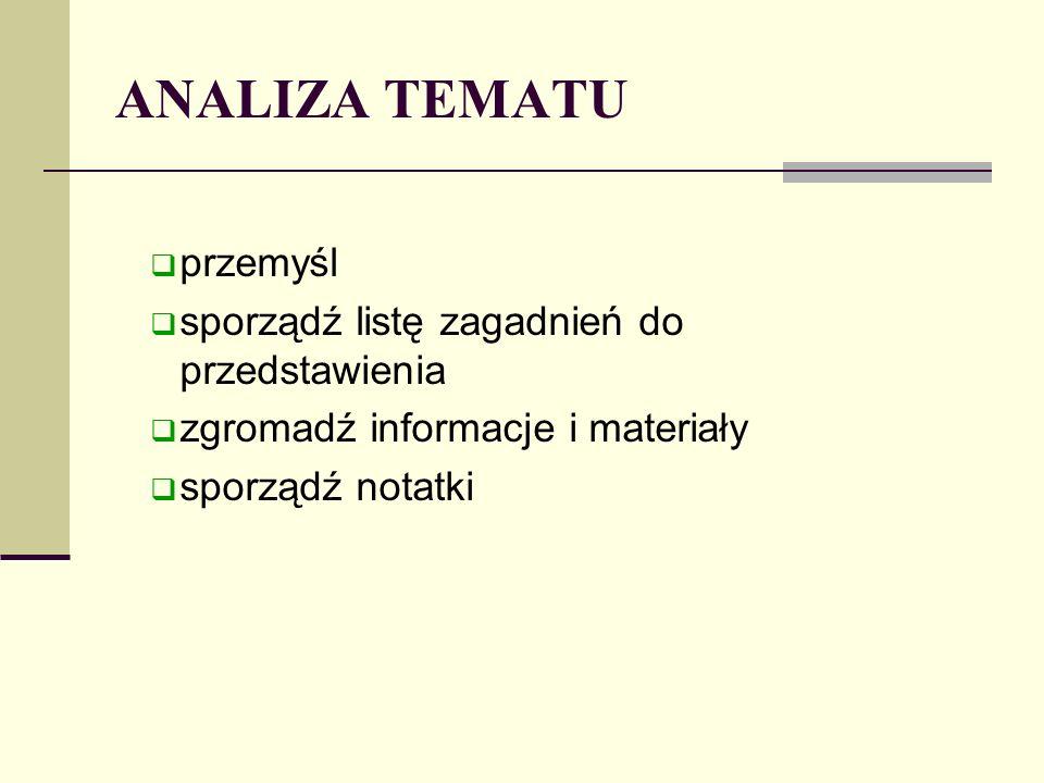 ANALIZA TEMATU przemyśl sporządź listę zagadnień do przedstawienia