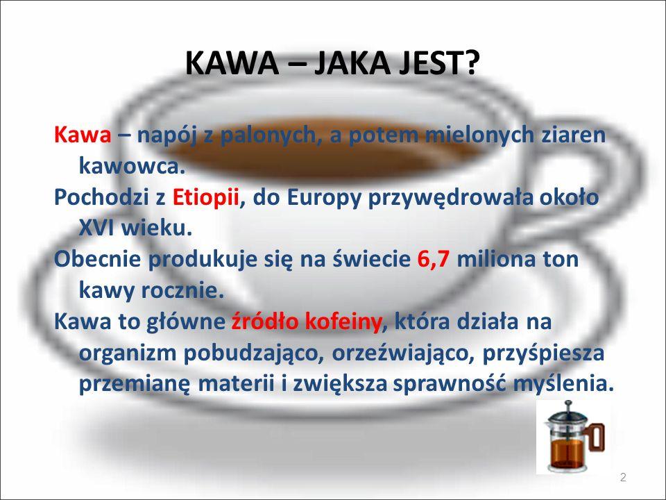 KAWA – JAKA JEST Kawa – napój z palonych, a potem mielonych ziaren kawowca. Pochodzi z Etiopii, do Europy przywędrowała około XVI wieku.