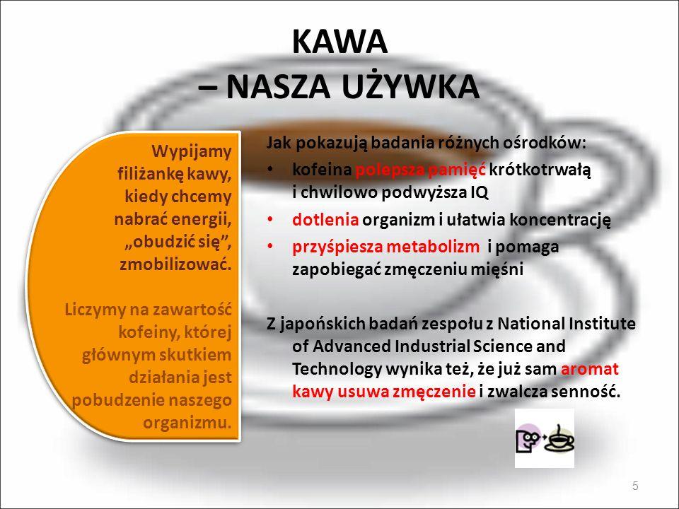 KAWA – NASZA UŻYWKA Jak pokazują badania różnych ośrodków: Wypijamy