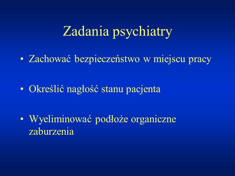 Zadania psychiatry Zachować bezpieczeństwo w miejscu pracy