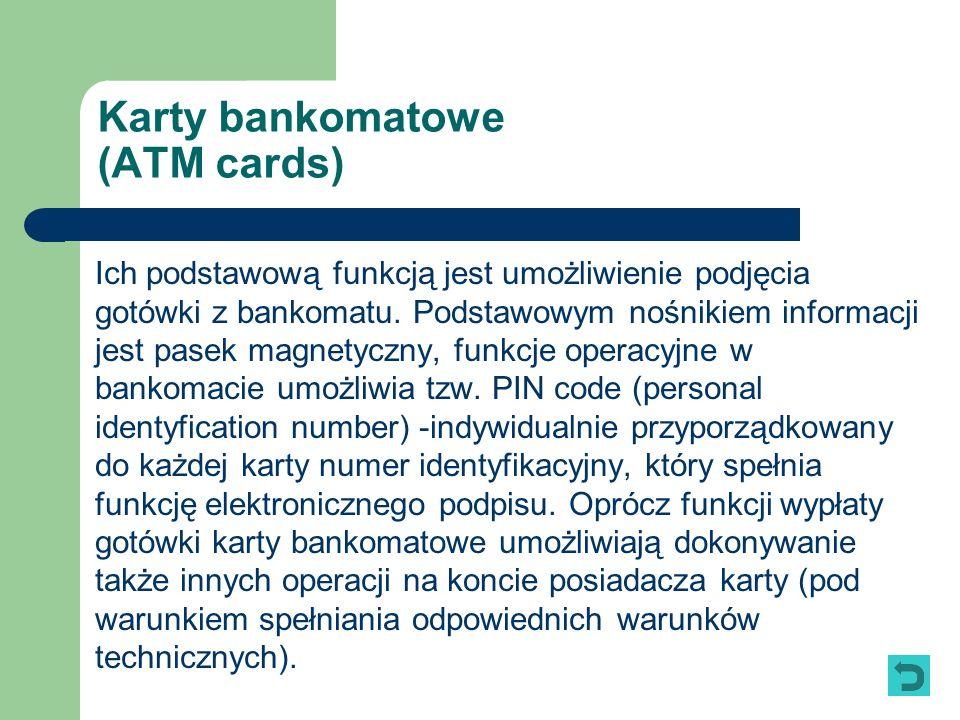 Karty bankomatowe (ATM cards)