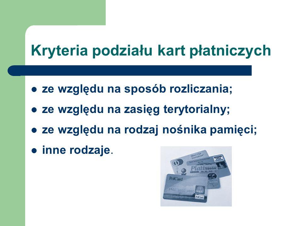 Kryteria podziału kart płatniczych