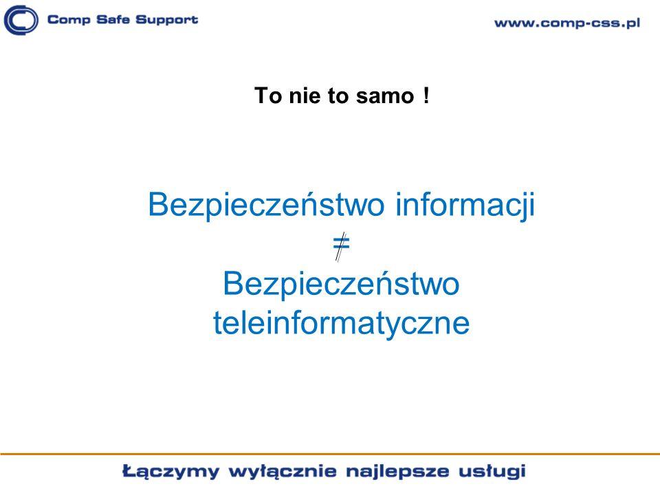 Bezpieczeństwo informacji = Bezpieczeństwo teleinformatyczne