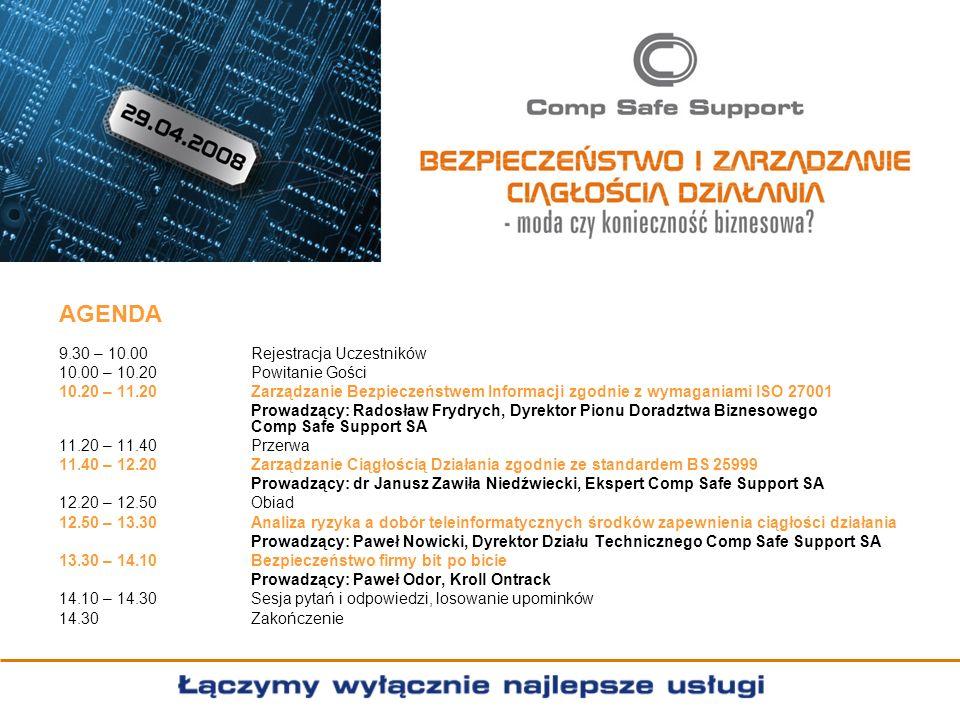 AGENDA 9.30 – 10.00 Rejestracja Uczestników