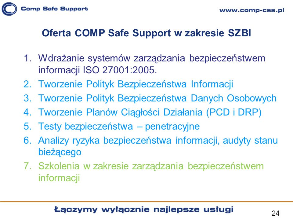 Oferta COMP Safe Support w zakresie SZBI