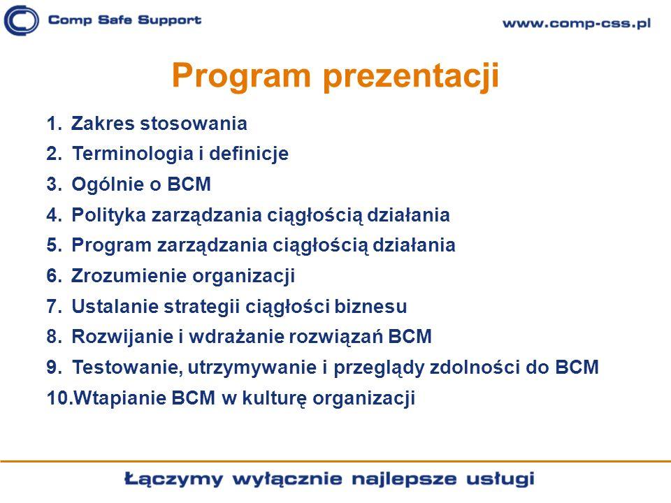 Program prezentacji Zakres stosowania Terminologia i definicje