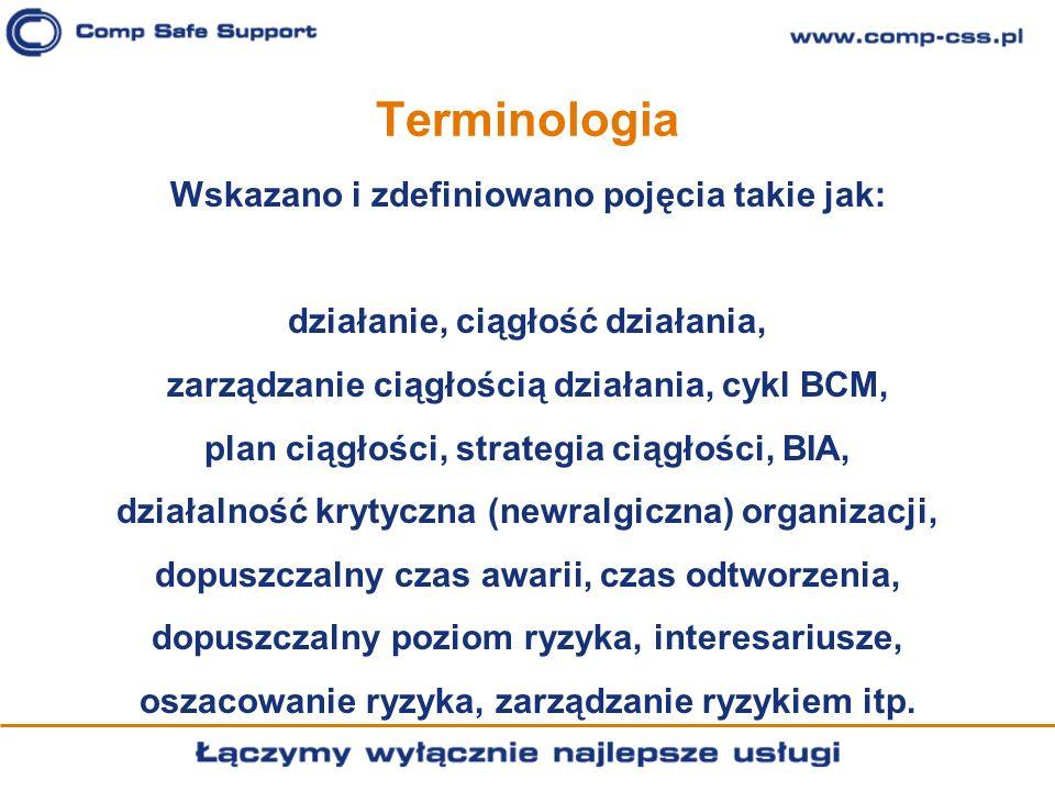 Terminologia Wskazano i zdefiniowano pojęcia takie jak: