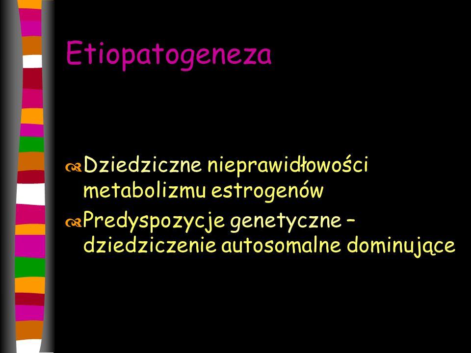 Etiopatogeneza Dziedziczne nieprawidłowości metabolizmu estrogenów