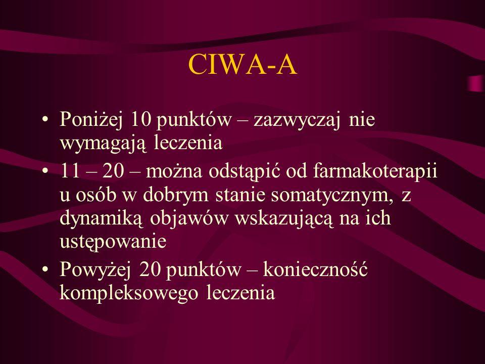 CIWA-A Poniżej 10 punktów – zazwyczaj nie wymagają leczenia