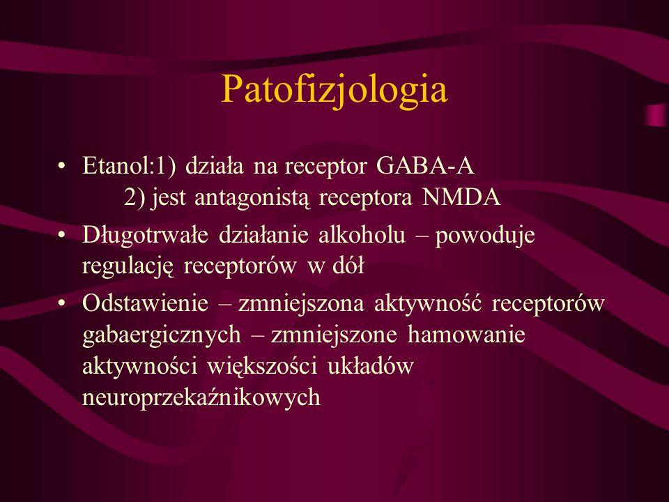 PatofizjologiaEtanol:1) działa na receptor GABA-A 2) jest antagonistą receptora NMDA.