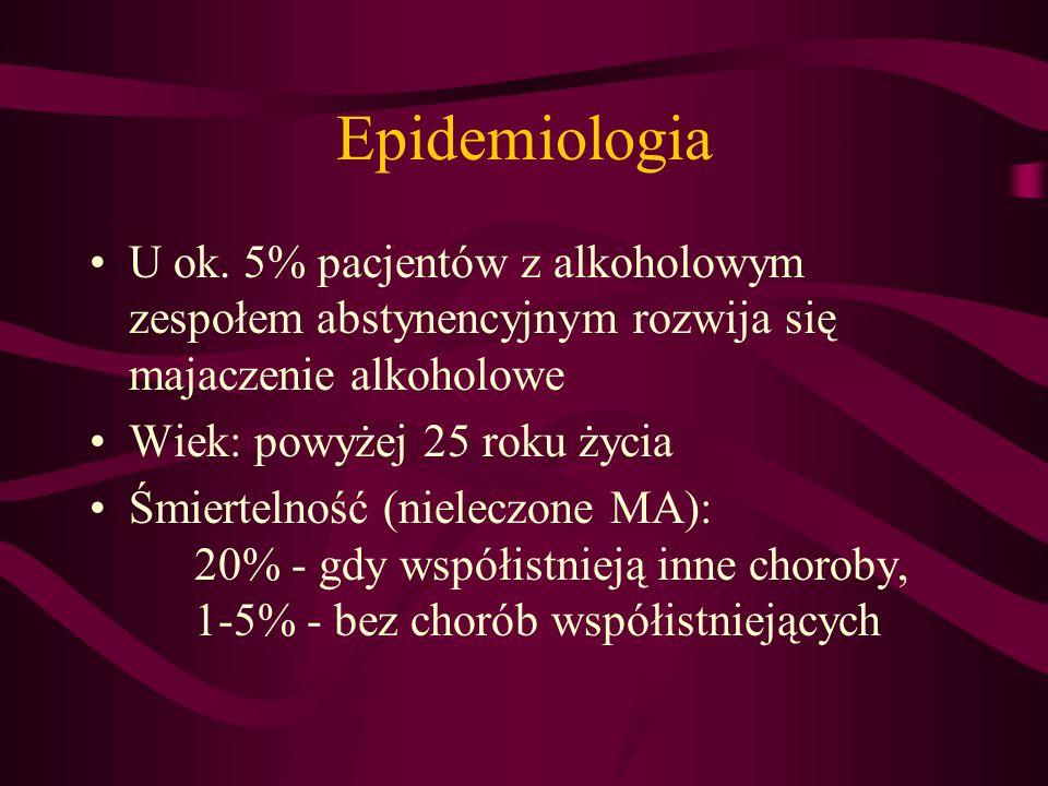 Epidemiologia U ok. 5% pacjentów z alkoholowym zespołem abstynencyjnym rozwija się majaczenie alkoholowe.