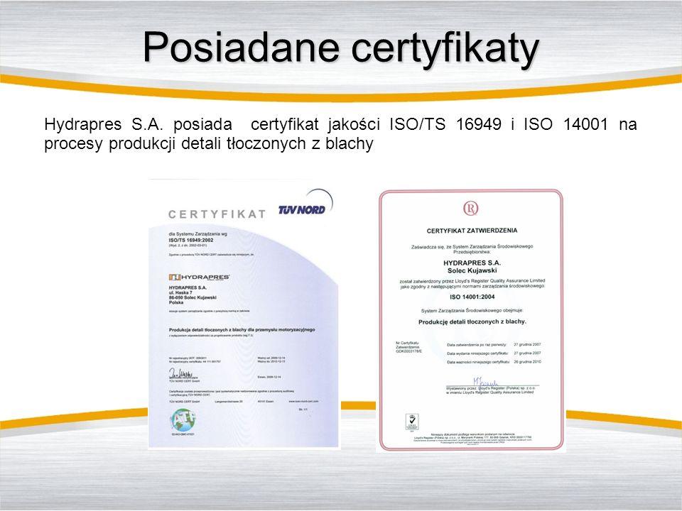 Posiadane certyfikaty