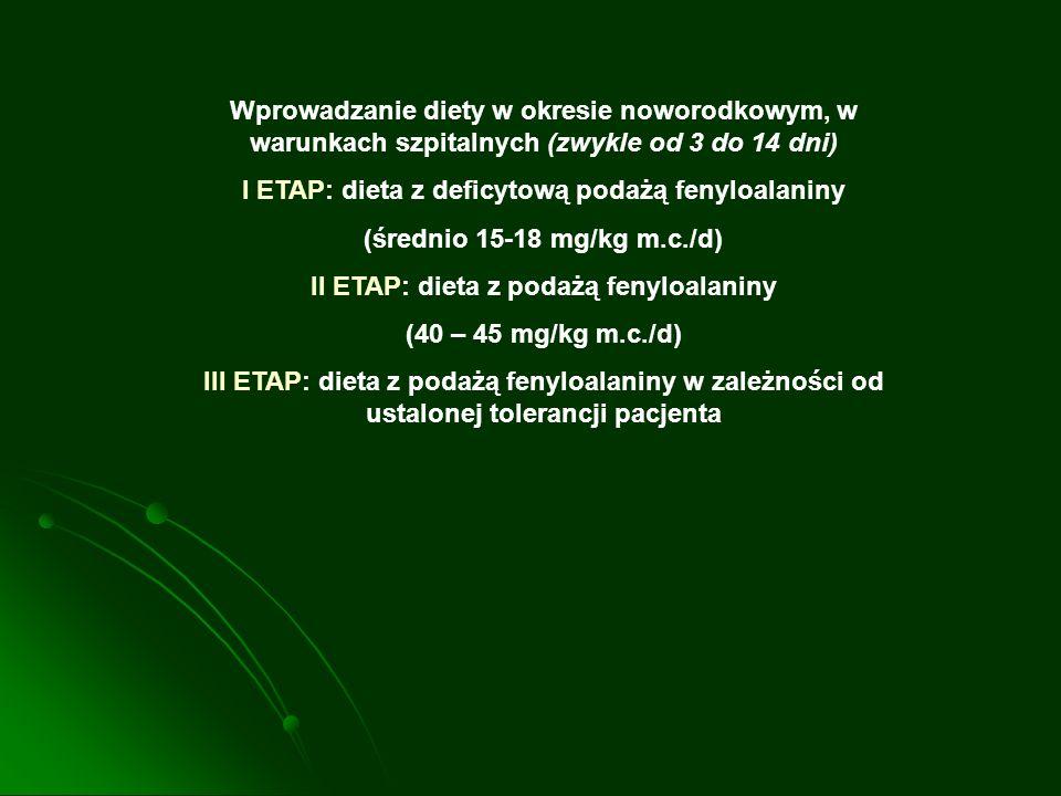 I ETAP: dieta z deficytową podażą fenyloalaniny