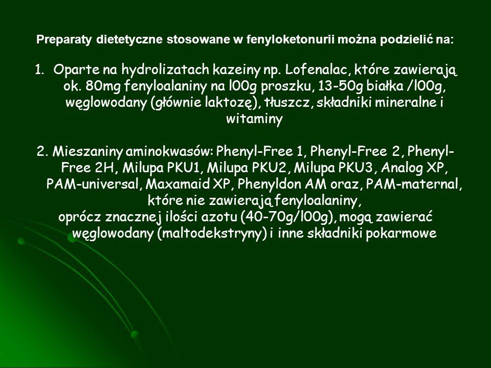 Preparaty dietetyczne stosowane w fenyloketonurii można podzielić na: