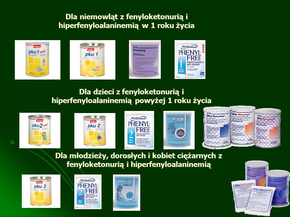 Dla niemowląt z fenyloketonurią i hiperfenyloalaninemią w 1 roku życia