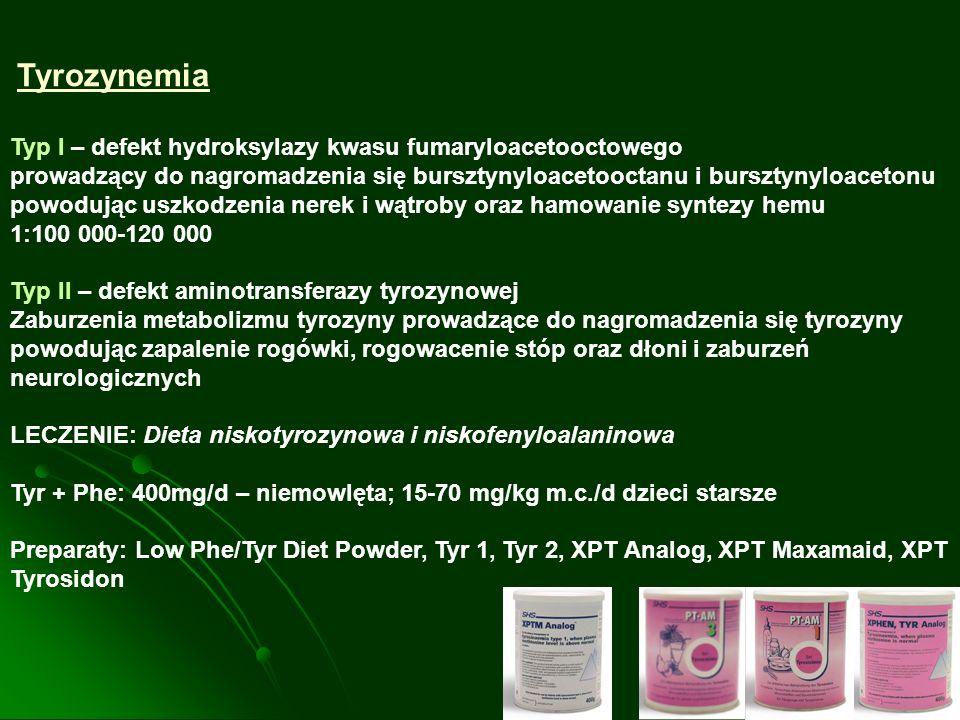 Typ I – defekt hydroksylazy kwasu fumaryloacetooctowego