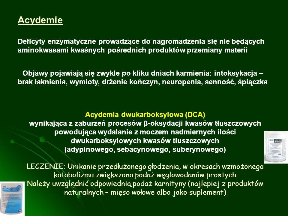 Acydemie Deficyty enzymatyczne prowadzące do nagromadzenia się nie będących aminokwasami kwaśnych pośrednich produktów przemiany materii.