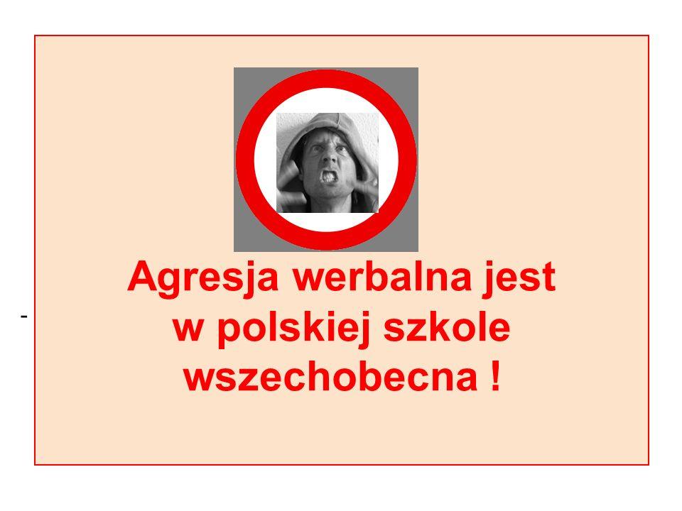 Agresja werbalna jest w polskiej szkole wszechobecna !