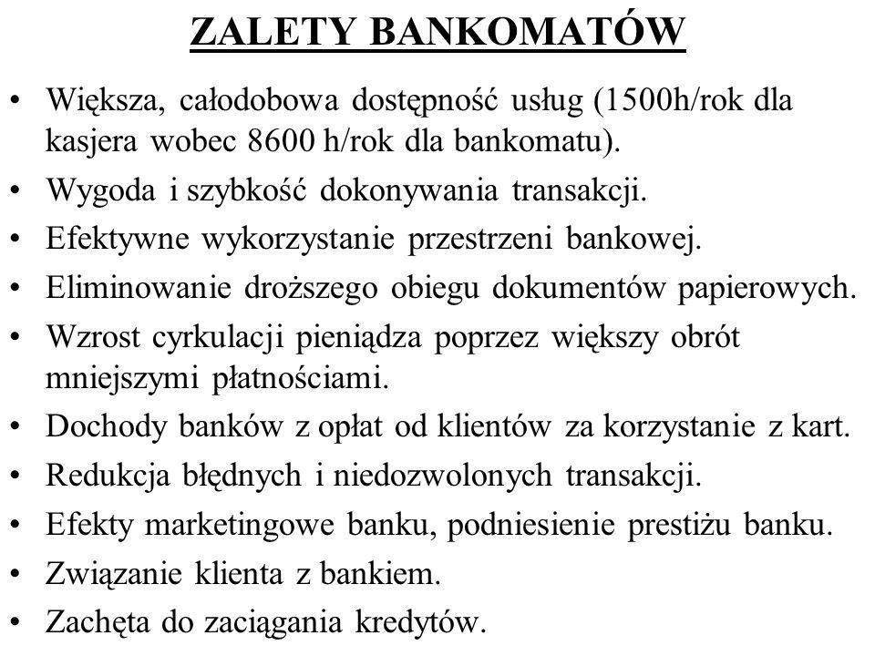 ZALETY BANKOMATÓW Większa, całodobowa dostępność usług (1500h/rok dla kasjera wobec 8600 h/rok dla bankomatu).