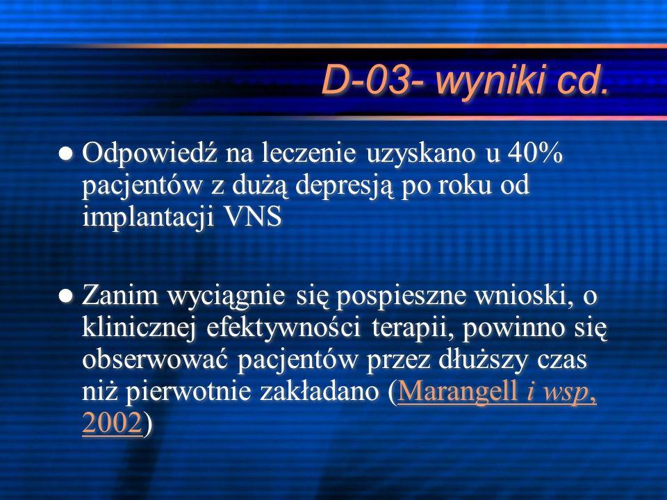 D-03- wyniki cd.Odpowiedź na leczenie uzyskano u 40% pacjentów z dużą depresją po roku od implantacji VNS.