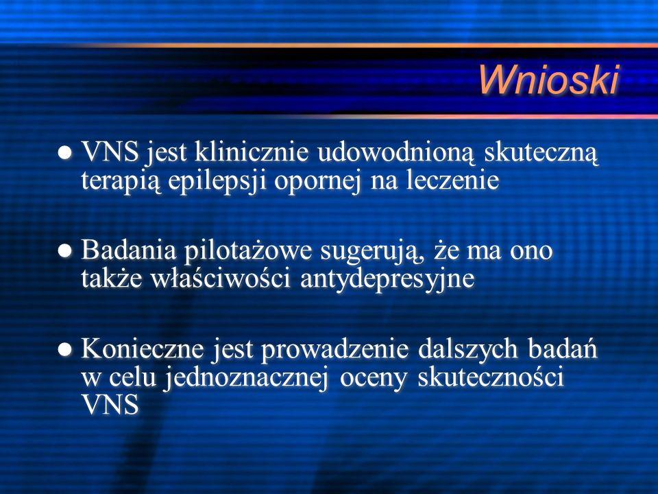 Wnioski VNS jest klinicznie udowodnioną skuteczną terapią epilepsji opornej na leczenie.