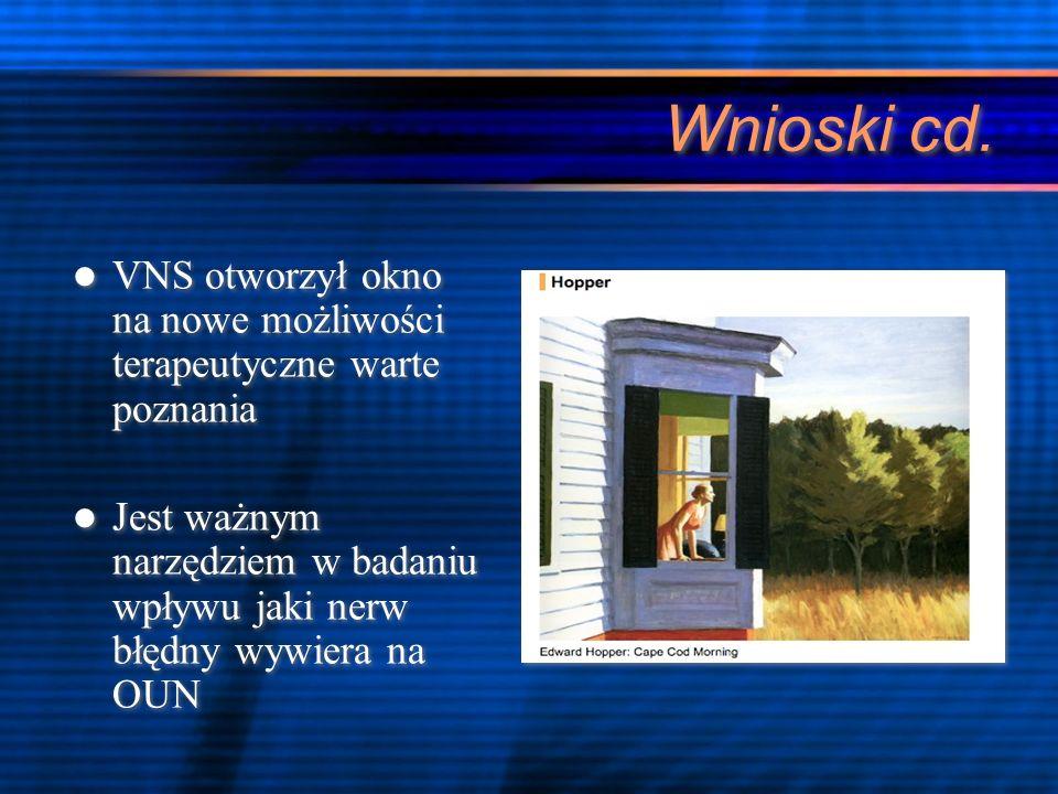 Wnioski cd.VNS otworzył okno na nowe możliwości terapeutyczne warte poznania.