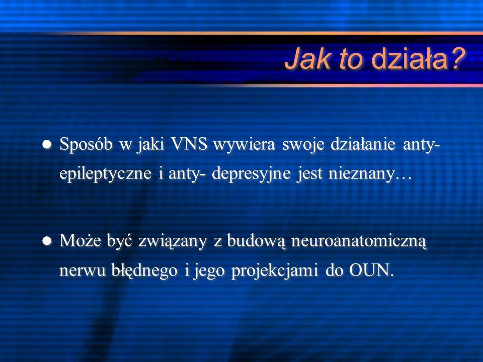Jak to działa Sposób w jaki VNS wywiera swoje działanie anty- epileptyczne i anty- depresyjne jest nieznany…