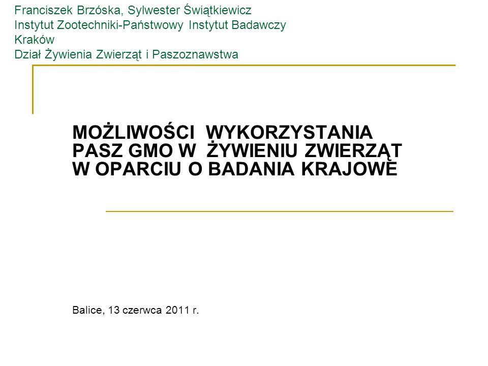 Franciszek Brzóska, Sylwester Świątkiewicz Instytut Zootechniki-Państwowy Instytut Badawczy Kraków Dział Żywienia Zwierząt i Paszoznawstwa
