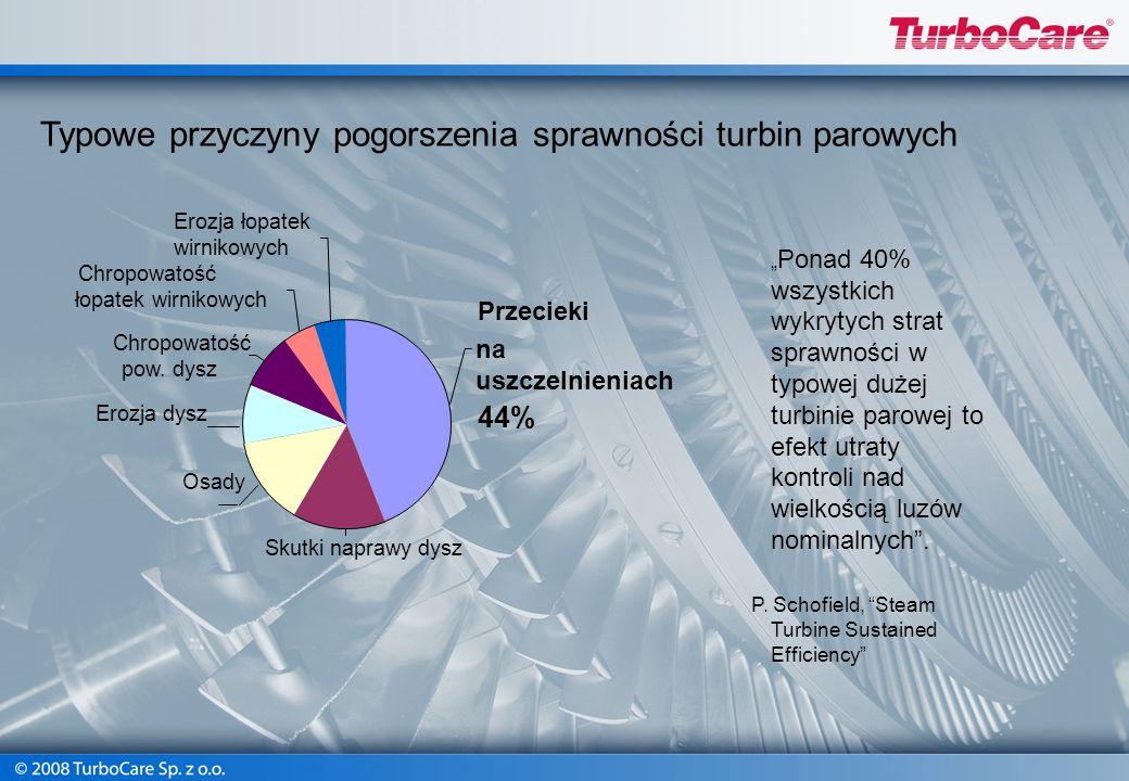 Typowe przyczyny pogorszenia sprawności turbin parowych