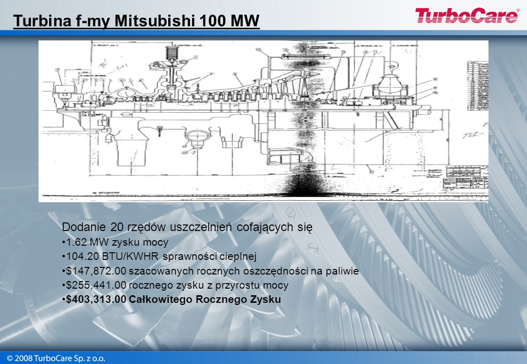 Turbina f-my Mitsubishi 100 MW