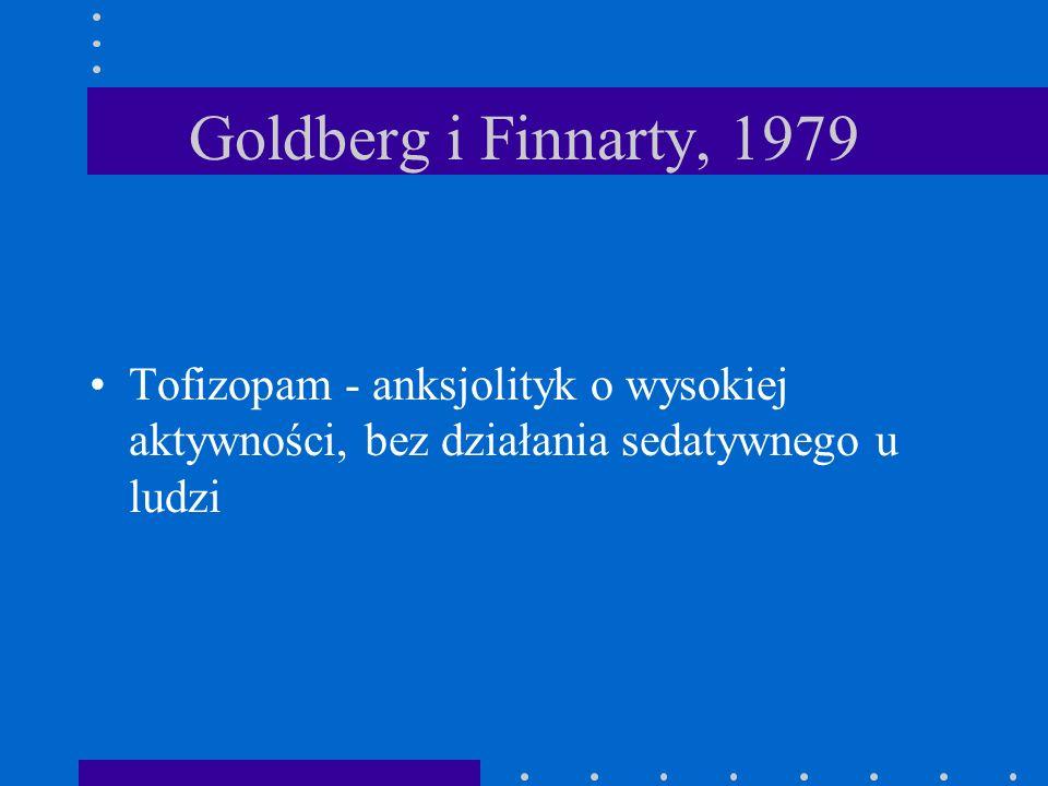 Goldberg i Finnarty, 1979 Tofizopam - anksjolityk o wysokiej aktywności, bez działania sedatywnego u ludzi.