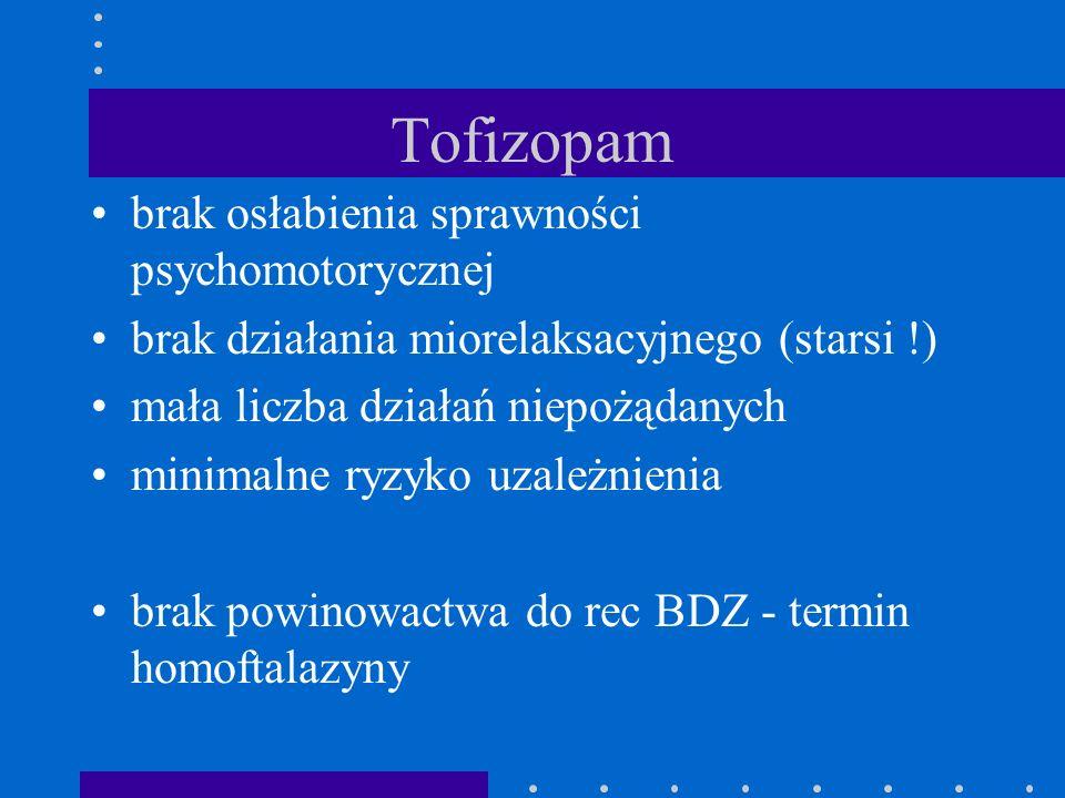 Tofizopam brak osłabienia sprawności psychomotorycznej