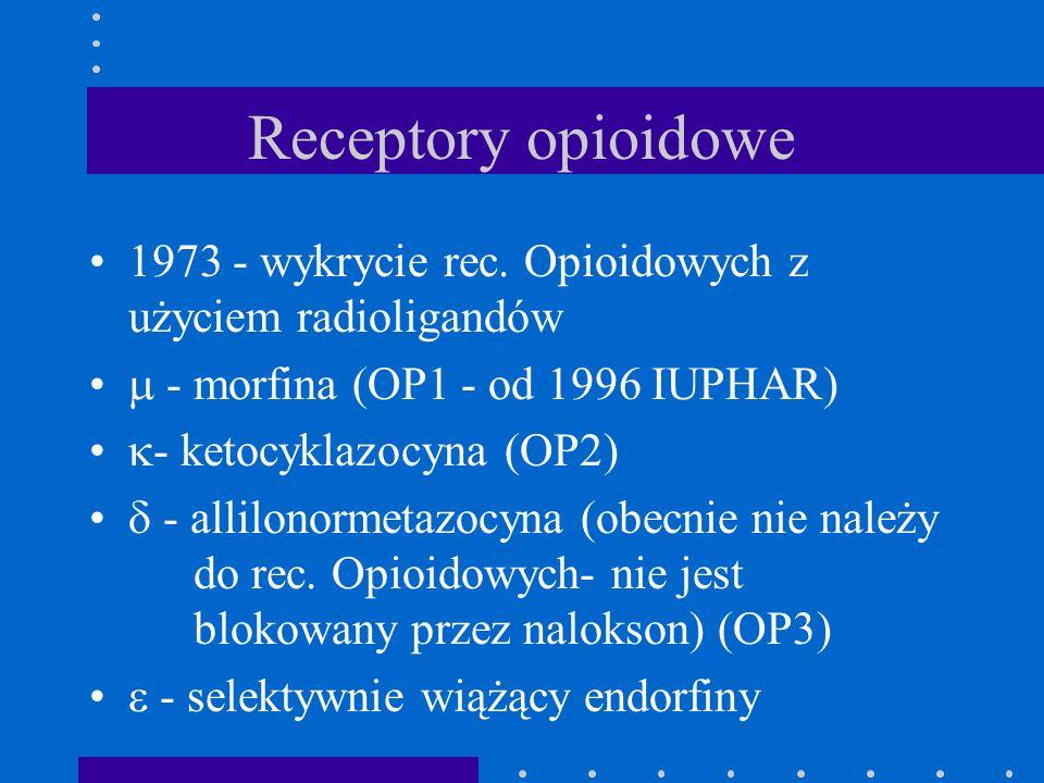 Receptory opioidowe 1973 - wykrycie rec. Opioidowych z użyciem radioligandów.  - morfina (OP1 - od 1996 IUPHAR)