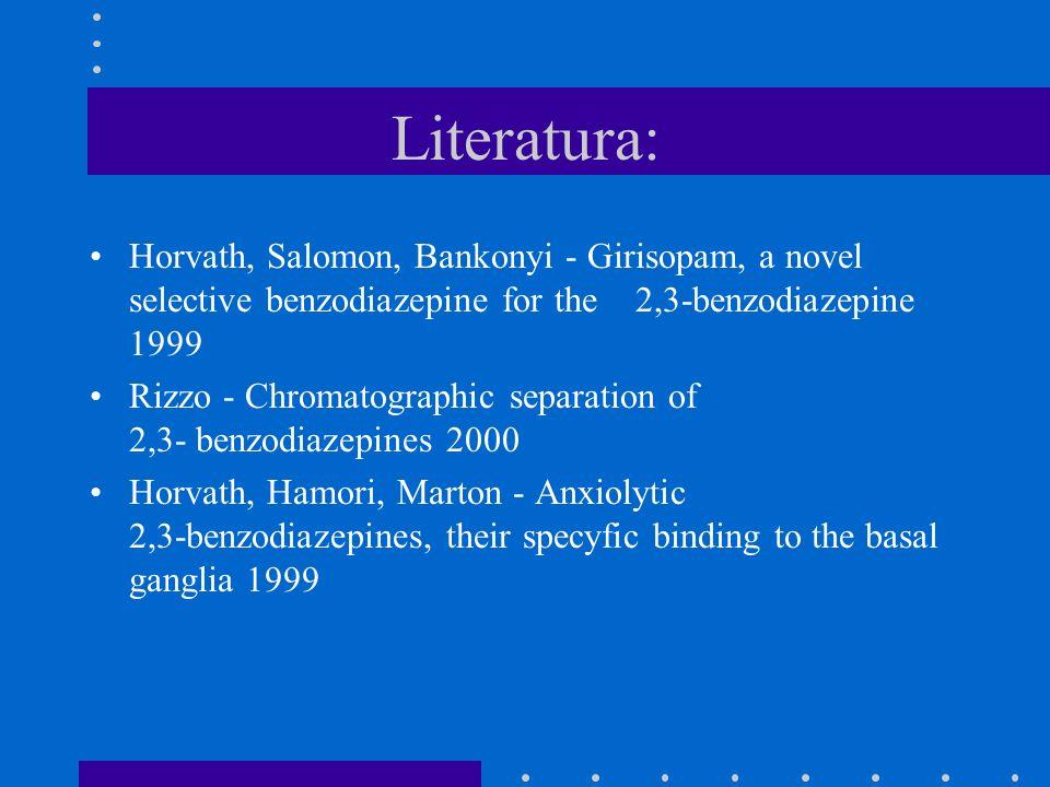 Literatura: Horvath, Salomon, Bankonyi - Girisopam, a novel selective benzodiazepine for the 2,3-benzodiazepine 1999.
