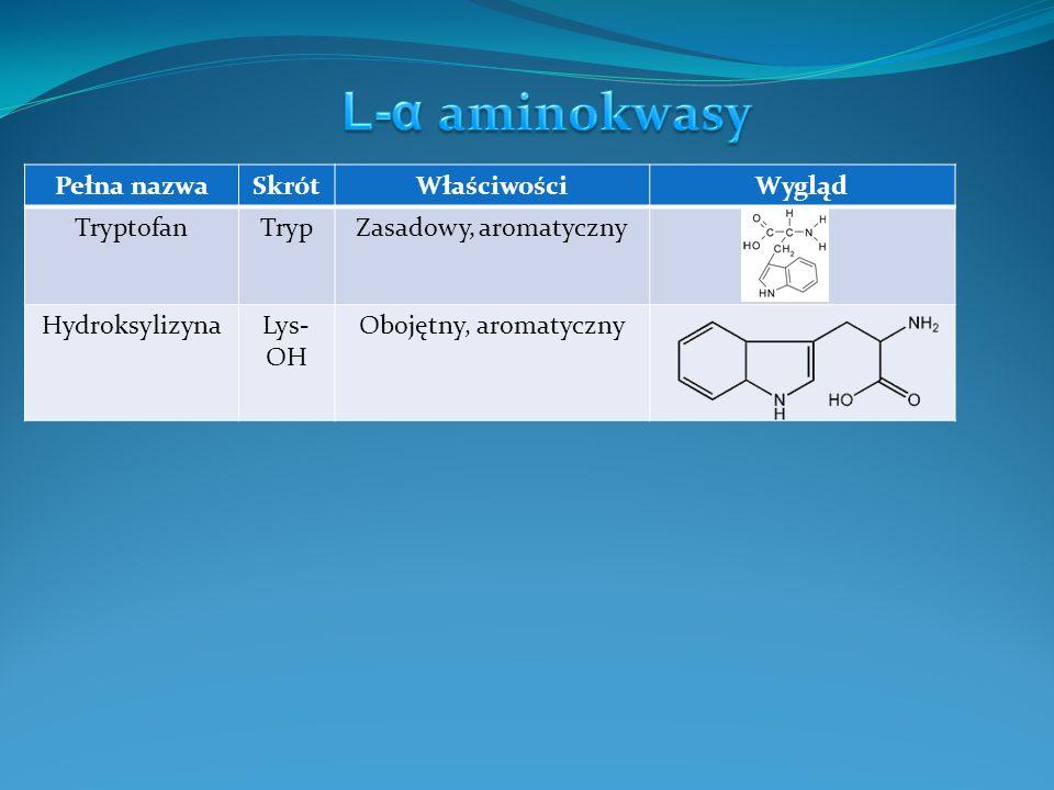 L-α aminokwasy Pełna nazwa Skrót Właściwości Wygląd Tryptofan Tryp