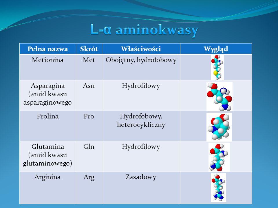 L-α aminokwasy Pełna nazwa Skrót Właściwości Wygląd Metionina Met