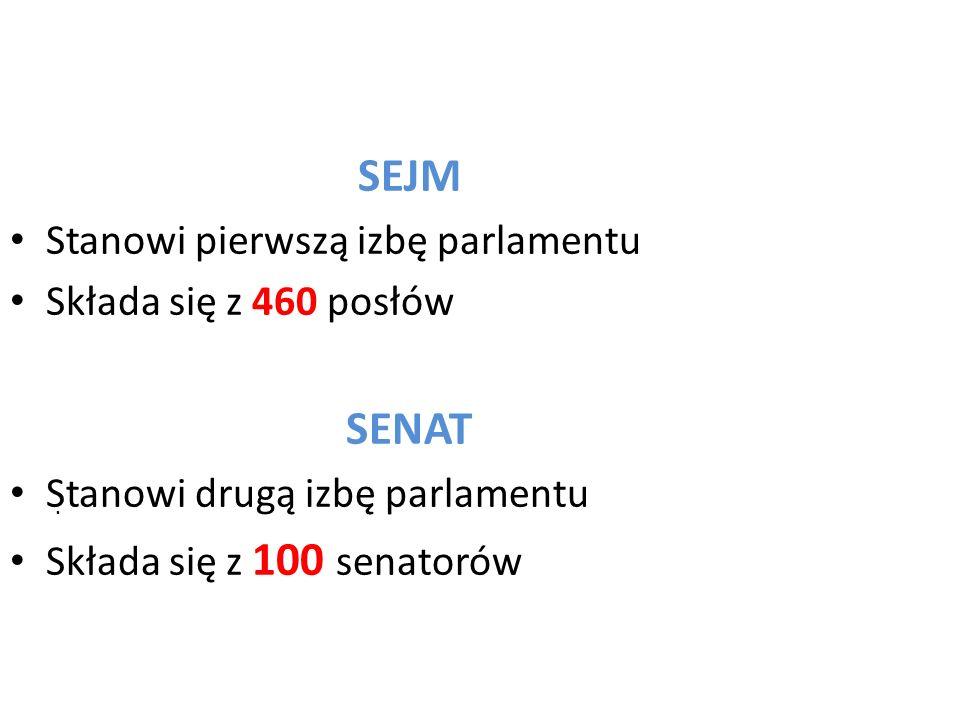 SENAT SEJM Stanowi pierwszą izbę parlamentu Składa się z 460 posłów