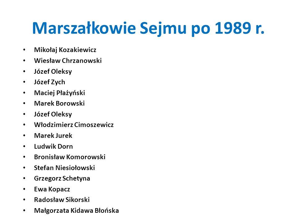 Marszałkowie Sejmu po 1989 r.