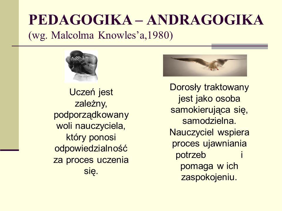 PEDAGOGIKA – ANDRAGOGIKA (wg. Malcolma Knowles'a,1980)