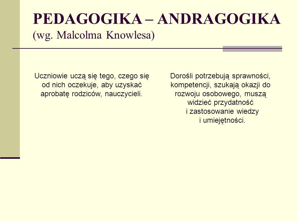PEDAGOGIKA – ANDRAGOGIKA (wg. Malcolma Knowlesa)