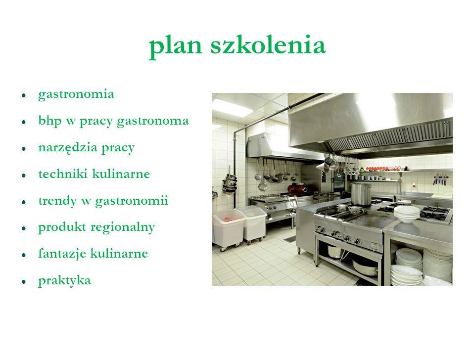 plan szkolenia gastronomia bhp w pracy gastronoma narzędzia pracy