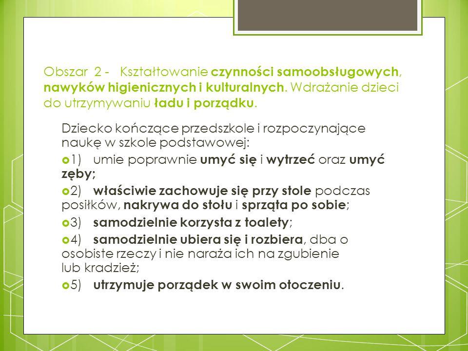 Obszar 2 - Kształtowanie czynności samoobsługowych, nawyków higienicznych i kulturalnych. Wdrażanie dzieci do utrzymywaniu ładu i porządku.
