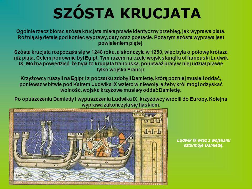 Ludwik IX wraz z wojskami szturmuje Damiettę.