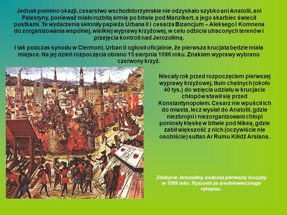 Jednak pomimo okazji, cesarstwo wschodniorzymskie nie odzyskało szybko ani Anatolii, ani Palestyny, ponieważ miało rozbitą armię po bitwie pod Manzikert, a jego skarbiec świecił pustkami. Te wydarzenia skłoniły papieża Urbana II i cesarza Bizancjum – Aleksego I Komnena do zorganizowania wspólnej, wielkiej wyprawy krzyżowej, w celu odbicia utraconych terenów i przejęcia kontroli nad Jerozolimą.